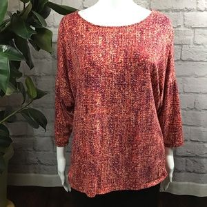 🍓 SALE! 3/$15 Orange long sleeve XL patterned top
